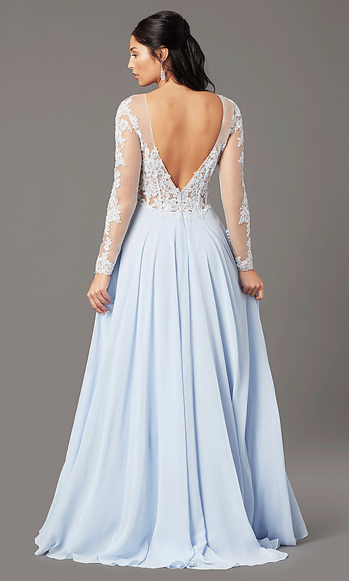 Image of long-sleeve chiffon illusion prom dress by PromGirl. Style: PG-F2037 Back Image