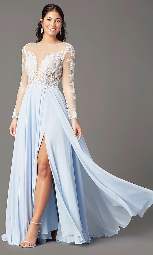 Image of long-sleeve chiffon illusion prom dress by PromGirl. Style: PG-F2037 Front Image