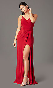 Image of backless PromGirl long faux-wrap formal prom dress. Style: PG-F2042 Front Image