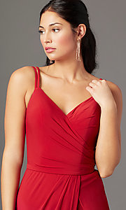 Image of backless PromGirl long faux-wrap formal prom dress. Style: PG-F2042 Detail Image 1