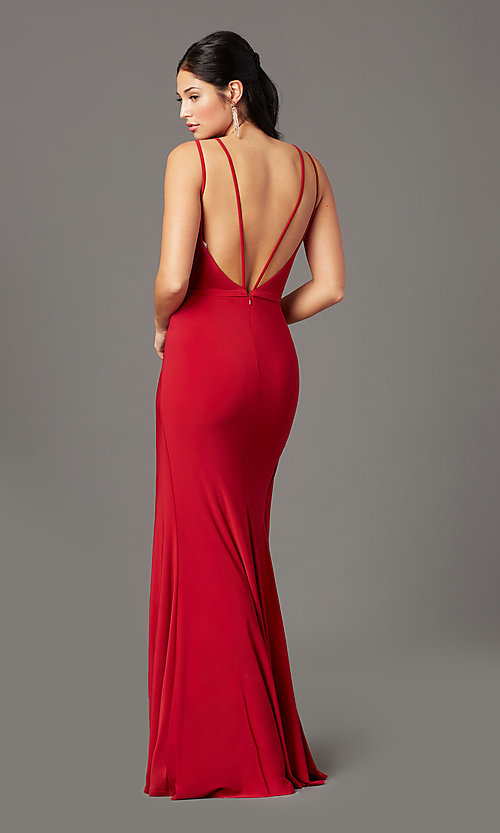 Image of backless PromGirl long faux-wrap formal prom dress. Style: PG-F2042 Back Image