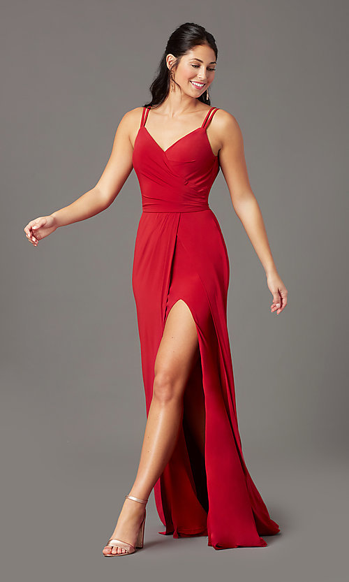 Image of backless PromGirl long faux-wrap formal prom dress. Style: PG-F2042 Detail Image 2