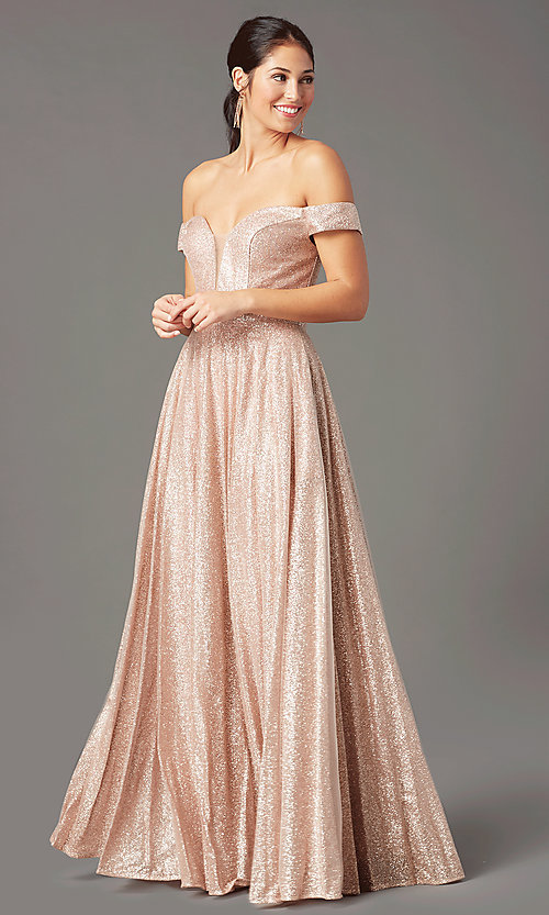 Image of rose gold sparkly long prom dress by PromGirl. Style: PG-Z20962 Detail Image 2