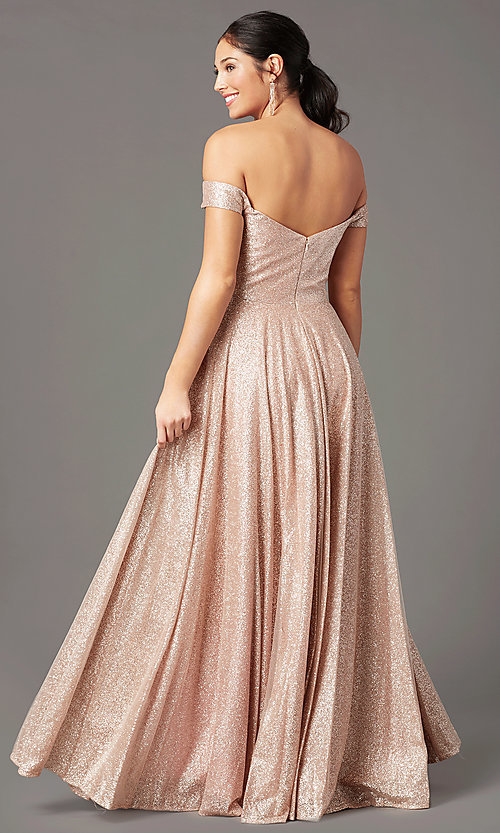Image of rose gold sparkly long prom dress by PromGirl. Style: PG-Z20962 Back Image