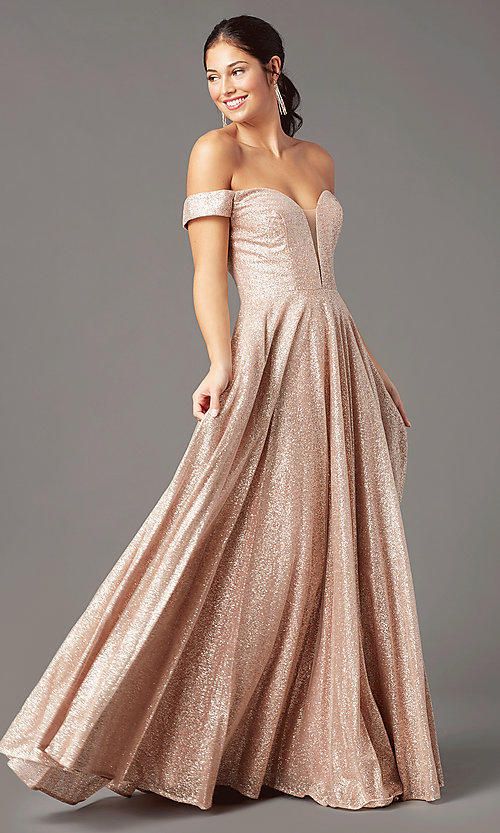 Image of rose gold sparkly long prom dress by PromGirl. Style: PG-Z20962 Front Image