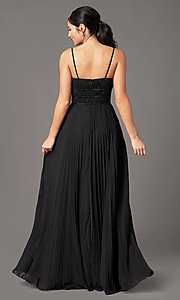 Image of pleated long formal v-neck prom dress by PromGirl. Style: PG-Z20963 Back Image