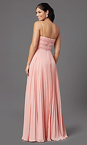 Image of pleated long formal v-neck prom dress by PromGirl. Style: PG-Z20963 Detail Image 4