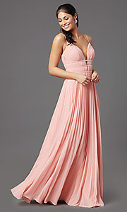 Image of pleated long formal v-neck prom dress by PromGirl. Style: PG-Z20963 Detail Image 6