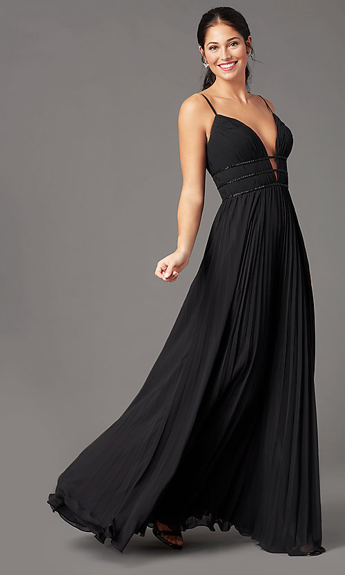 Image of pleated long formal v-neck prom dress by PromGirl. Style: PG-Z20963 Front Image