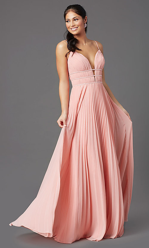 Image of pleated long formal v-neck prom dress by PromGirl. Style: PG-Z20963 Detail Image 3