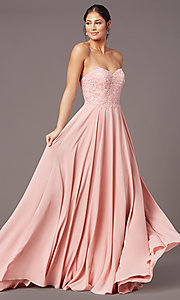 Image of long strapless sweetheart prom dress by PromGirl. Style: PG-B2018 Front Image