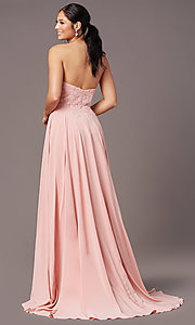 Image of long strapless sweetheart prom dress by PromGirl. Style: PG-B2018 Back Image