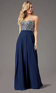 Image of embellished sweetheart long prom dress by PromGirl. Style: PG-B2021 Detail Image 5