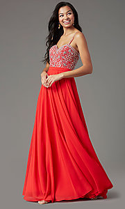 Image of embellished sweetheart long prom dress by PromGirl. Style: PG-B2021 Detail Image 1