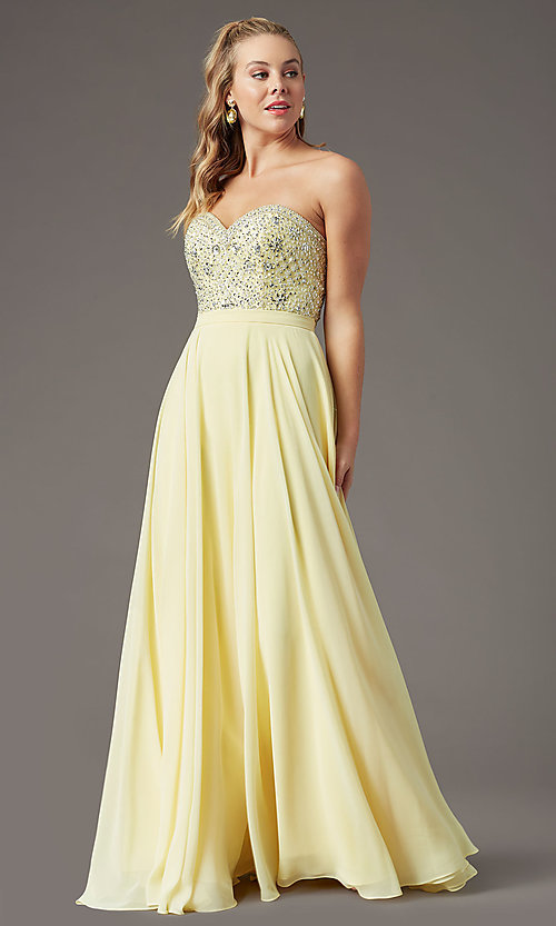 Image of embellished sweetheart long prom dress by PromGirl. Style: PG-B2021 Front Image