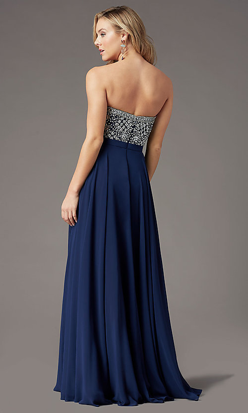 Image of embellished sweetheart long prom dress by PromGirl. Style: PG-B2021 Detail Image 6