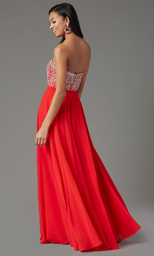 Image of embellished sweetheart long prom dress by PromGirl. Style: PG-B2021 Detail Image 2