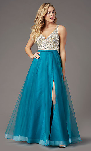 PromGirl Beaded-Bodice Long Formal Prom Dress