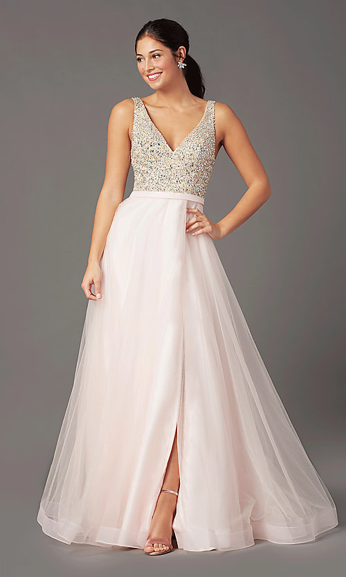 Image of PromGirl beaded-bodice long formal prom dress. Style: PG-B2022 Detail Image 2