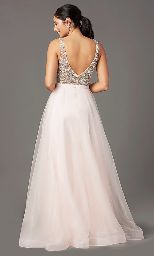 Image of PromGirl beaded-bodice long formal prom dress. Style: PG-B2022 Back Image