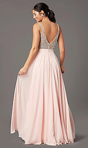 Image of beaded-bodice open-back prom dress by PromGirl. Style: PG-B2023 Back Image