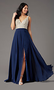 Image of beaded-bodice open-back prom dress by PromGirl. Style: PG-B2023 Detail Image 2