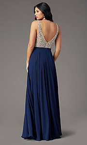Image of beaded-bodice open-back prom dress by PromGirl. Style: PG-B2023 Detail Image 4