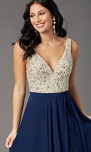 Image of beaded-bodice open-back prom dress by PromGirl. Style: PG-B2023 Detail Image 5