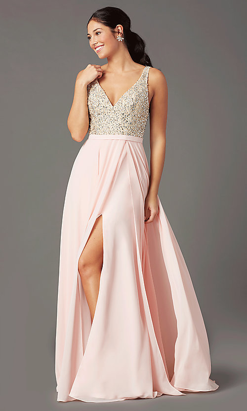 Image of beaded-bodice open-back prom dress by PromGirl. Style: PG-B2023 Front Image