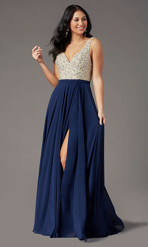 Image of beaded-bodice open-back prom dress by PromGirl. Style: PG-B2023 Detail Image 3