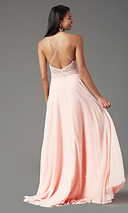 Image of sleeveless a-line chiffon prom dress by PromGirl. Style: PG-B2024 Detail Image 4