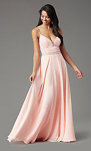Image of sleeveless a-line chiffon prom dress by PromGirl. Style: PG-B2024 Detail Image 3