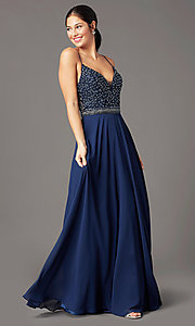 Image of sleeveless a-line chiffon prom dress by PromGirl. Style: PG-B2024 Detail Image 2