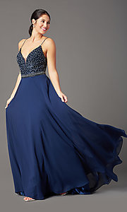 Image of sleeveless a-line chiffon prom dress by PromGirl. Style: PG-B2024 Front Image
