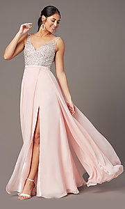 Image of beaded-bodice long sparkly prom dress by PromGirl. Style: PG-B2025 Front Image