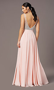 Image of beaded-bodice long sparkly prom dress by PromGirl. Style: PG-B2025 Back Image