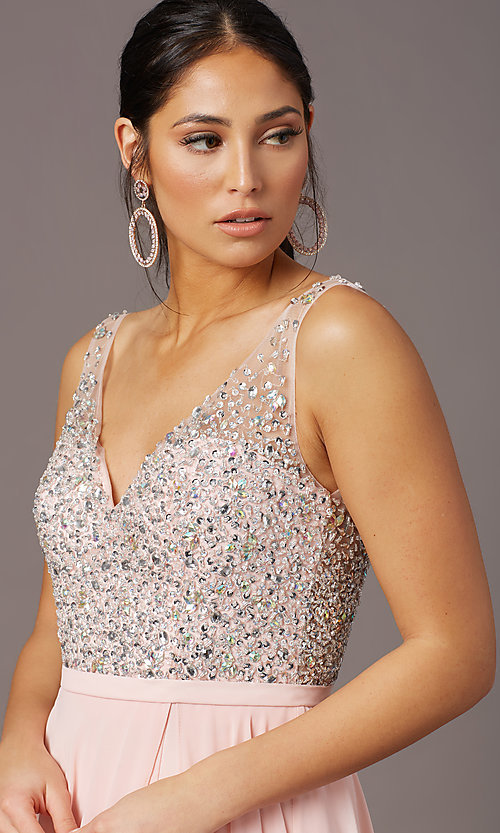 Image of beaded-bodice long sparkly prom dress by PromGirl. Style: PG-B2025 Detail Image 1