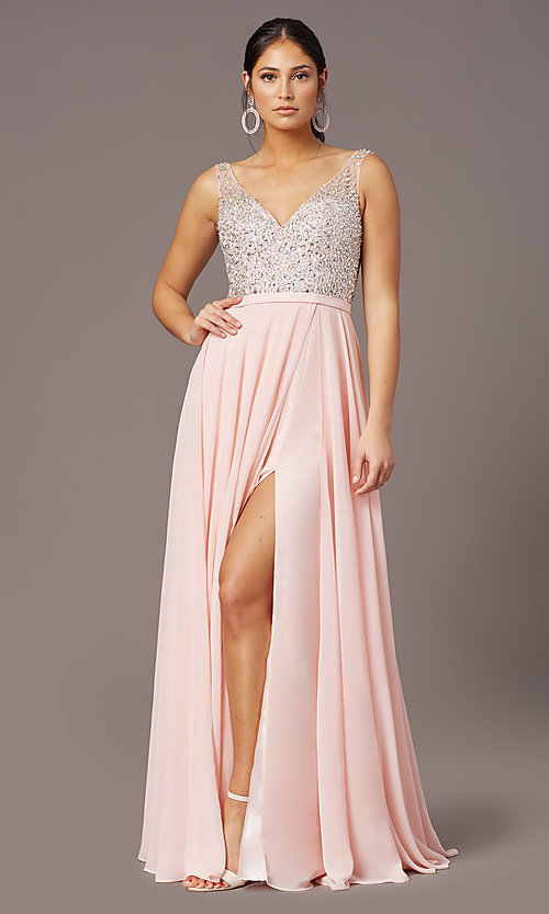 Image of beaded-bodice long sparkly prom dress by PromGirl. Style: PG-B2025 Detail Image 2