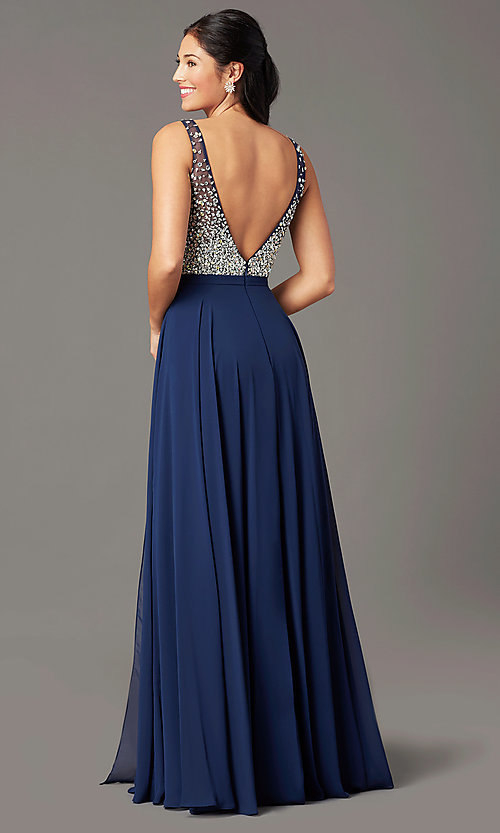 Image of beaded-bodice long sparkly prom dress by PromGirl. Style: PG-B2025 Detail Image 5