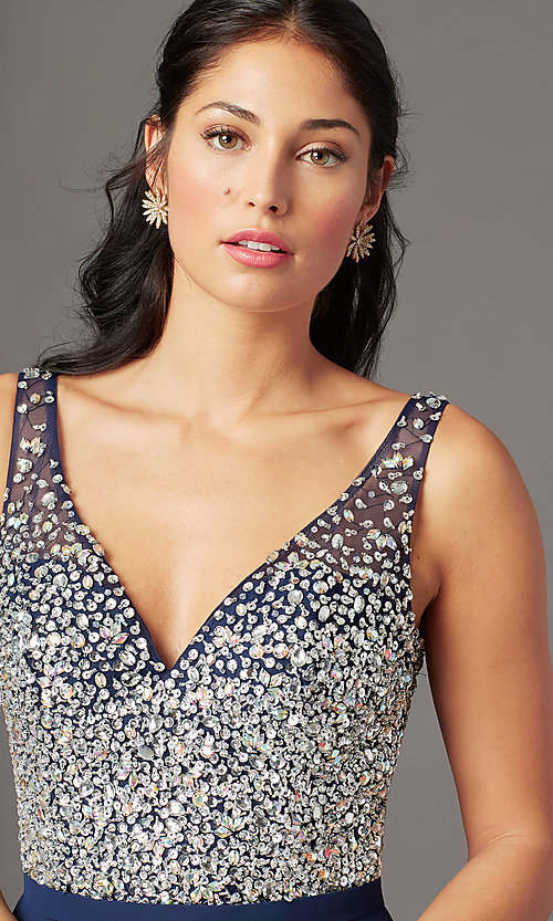 Image of beaded-bodice long sparkly prom dress by PromGirl. Style: PG-B2025 Detail Image 6
