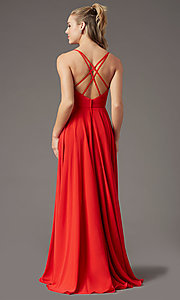 Image of PromGirl long a-line formal prom dress with slit. Style: PG-F2001 Detail Image 7