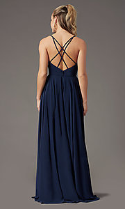 Image of PromGirl long a-line formal prom dress with slit. Style: PG-F2001 Detail Image 3