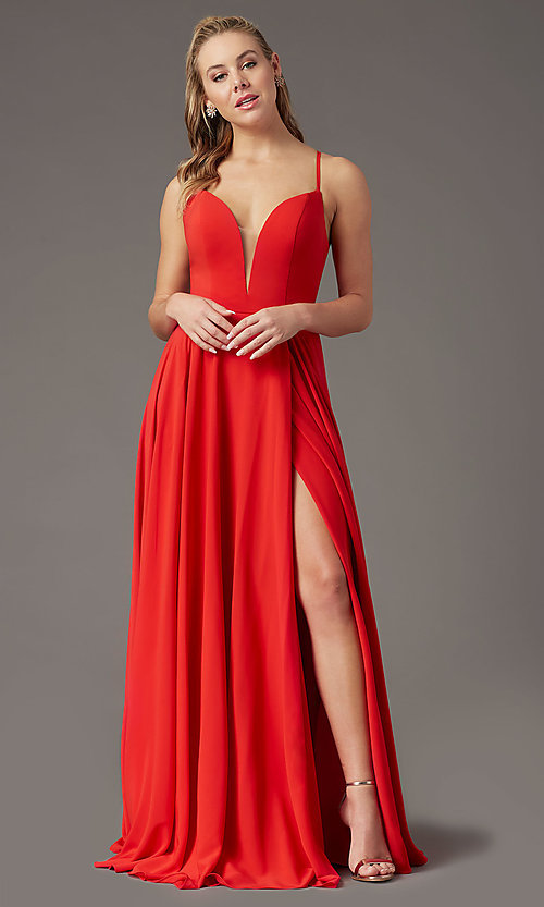 Image of PromGirl long a-line formal prom dress with slit. Style: PG-F2001 Detail Image 6