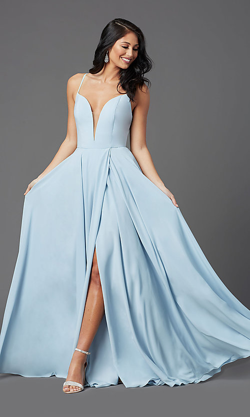 Image of PromGirl long a-line formal prom dress with slit. Style: PG-F2001 Front Image