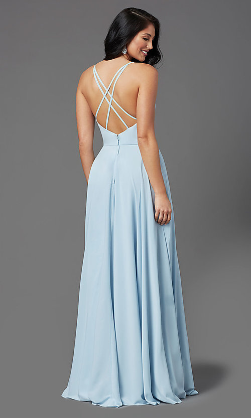 Image of PromGirl long a-line formal prom dress with slit. Style: PG-F2001 Back Image