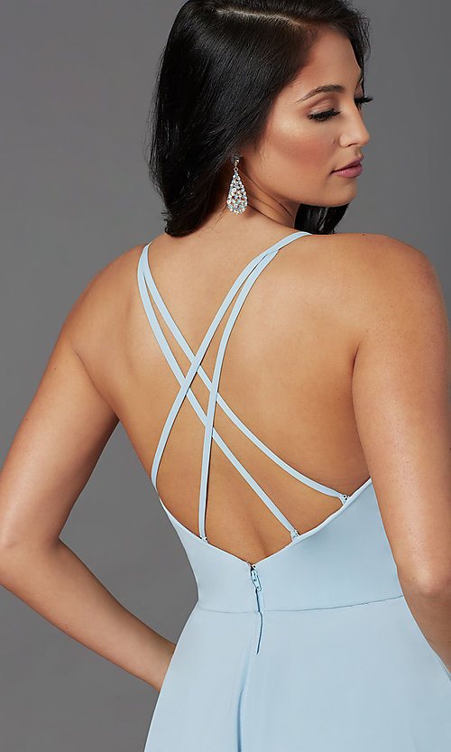 Image of PromGirl long a-line formal prom dress with slit. Style: PG-F2001 Detail Image 1