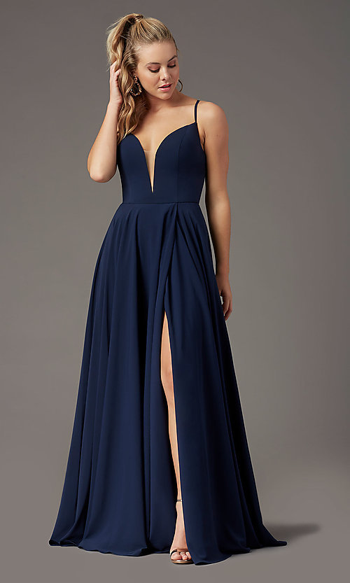 Image of PromGirl long a-line formal prom dress with slit. Style: PG-F2001 Detail Image 2