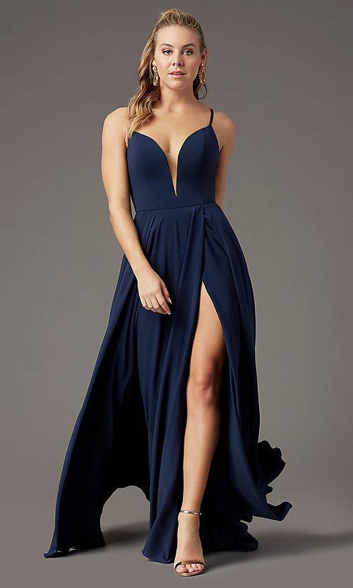 Image of PromGirl long a-line formal prom dress with slit. Style: PG-F2001 Detail Image 5