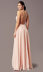 Image of formal v-neck a-line long prom dress by PromGirl. Style: PG-F2006 Detail Image 7