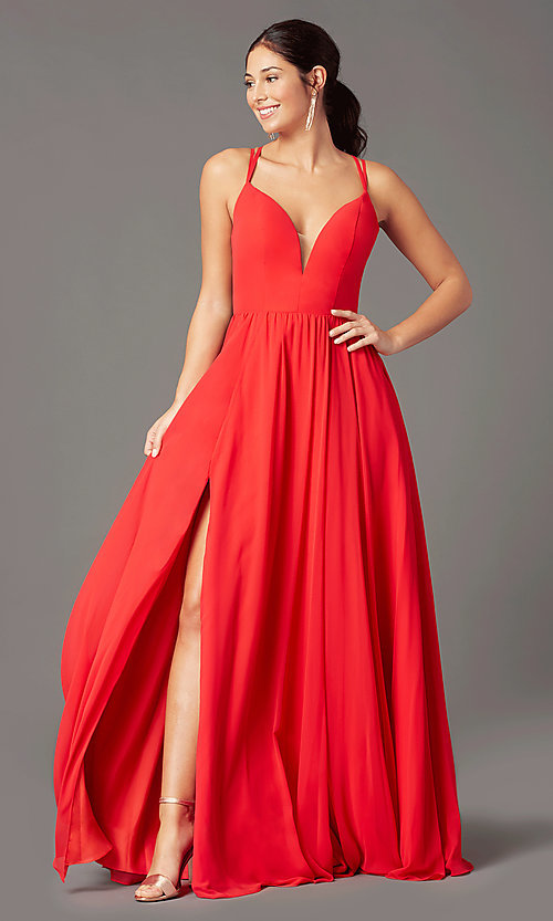 Image of formal v-neck a-line long prom dress by PromGirl. Style: PG-F2006 Detail Image 2